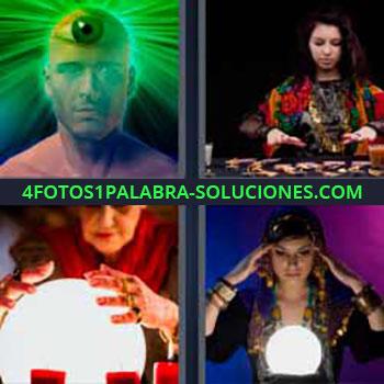 4 Fotos 1 Palabra - siete-letras adivina con bola de cristal. Ojo frente luz verde. Bruja. Tarotista.