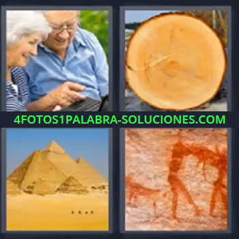 4 Fotos 1 Palabra - siete-letras ancianos, pareja de ancianos, tronco de árbol cortado, pirámides, pintura rupestre, dibujo prehistórico …