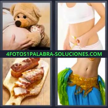 4 Fotos 1 Palabra - ocho-letras embarazada con oso de peluche, Chica de blanco con cinta métrica, Tabla de madera con carne, Bailarina.