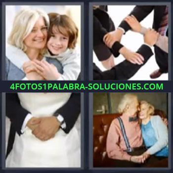 4 Fotos 1 Palabra - siete-letras abrazo, manos unidas