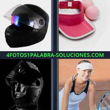 4 Fotos 1 Palabra - cuatro-letras casco negro. Gorra roja. Escafandra. Mujer jugando tenis.