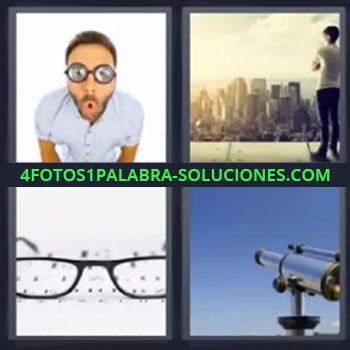 4 Fotos 1 Palabra - cinco-letras lentes, hombre con gafas, chico mirando una ciudad desde lo alto, gafas o lentes sobre un papel, telescopio …