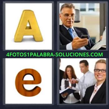 4 Fotos 1 Palabra - seis-letras letra A, Hombre con periódico mirando el teléfono móvil o celular, Letra e, Mujer sonriendo y tres personas detrás …