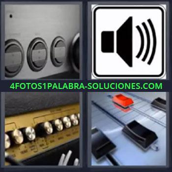 4 Fotos 1 Palabra - ocho-letras ecualizador, Botones, Icono altavoz o bocina, Interruptores, Amplificador.