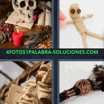 4 Fotos 1 Palabra - siete-letras calavera, muñeco de cuerda con ojos de botones y un alfiler clavado, caretas como de monstruos, calavera, velas, rollos de papel antiguos, palo de hechicero..