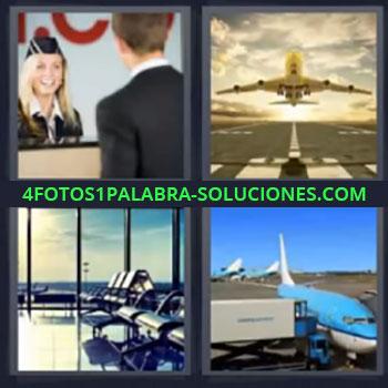 4 Fotos 1 Palabra - cinco-letras aeropuerto, azafata en aeropuerto atendiendo a un hombre, avión despegando, asientos de aeropuerto, avión cargando…