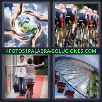 4 Fotos 1 Palabra - cinco-letras ciclistas. Planeta con cuatro manos. Pareja recibe de viaje. Noria o rueda de noria.