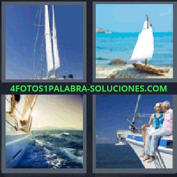 4 Fotos 1 Palabra - veleros, Velas de barco, Barca de juguete, Velero navegando, Pareja de ancianos sobre la cubierta de un barco.