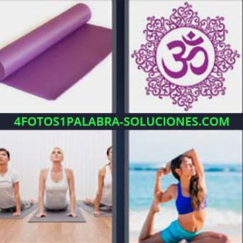 4 Fotos 1 Palabra - mujeres haciendo ejercicio. Colchoneta morada. Símbolo oriental. Estiramientos pilates o yoga
