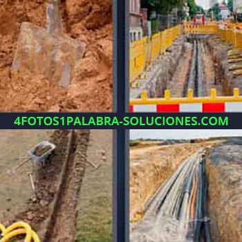 4 Fotos 1 Palabra - seis-letras calle en obras. Pala tierra o arena. Obras canalón. Tuberías.