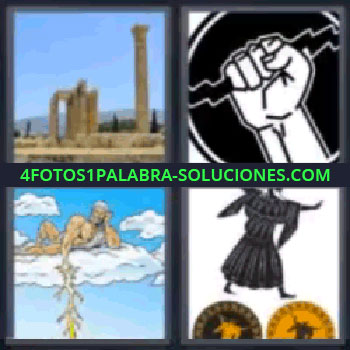4 Fotos 1 Palabra - cinco-letras columnas, Dios griego, Hombre andando sobre discos, Mano con un rayo