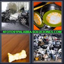 4 fotos 1 Palabra - 6 letras: Accidente Basurero de tecnologia Fregadero con cacharros sucios Manzana comida |