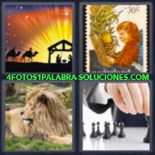 4 Fotos 1 Palabra - Fichas De Ajedrez León Reyes Magos Sello |