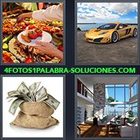 4 Fotos 1 Palabra - Plato y mesa con comida |