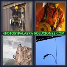 4 fotos 1 Palabra - 6 letras: bombero alpinista Haciendo puenting Limpiando cristales edificio |