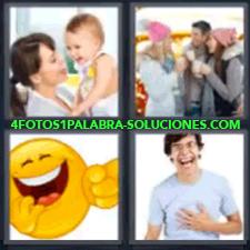 4 Fotos 1 Palabra - 4 Letras: Carita Amarilla, Madre Con Bebé, Dos Chicas Y Un Chico Tomando Bebida Caliente, Carita Feliz, Chico Riendo. |