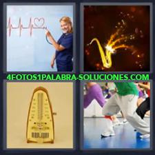 4 Fotos 1 Palabra - Saxofon Metronomo Piernas Bailando Radio Antigua |