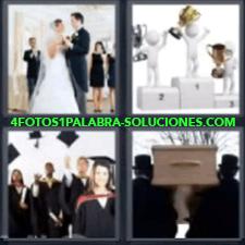 4 Fotos 1 Palabra - 4 Letras: Boda, Podio Con Campeones, Graduación, Entierro. |