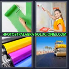 4 Fotos 1 Palabra - pintar carretera Maquina asfaltando carretera Maquina imprenta colores Mujer pintando casa |