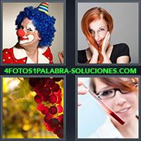 4 Fotos 1 Palabra - Payaso con cabello azul |