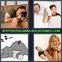 Hombre durmiendo, Mujer cubriéndose oídos con almohada, Elefante durmiendo, Mujer cubriéndose oídos con sus manos |