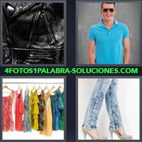Hombre playera azul, Piernas de chica con jeans, Vestidos Colgados en Perchas, Chaqueta de Cuero Negra |