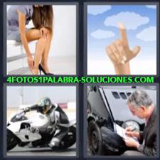 4 Fotos 1 Palabra - Motocicleta Dedo Tocando El Cielo Mujer Los Zapatos Le Hacen Daño Perito En Accidente |