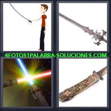4 Fotos 1 Palabra - Espada Dibujo Chico Con Espada Espada Espadas Láser Puñal |
