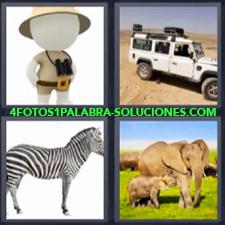 4 fotos 1 Palabra - 6 letras: Carro Jeep o Land Rover todo terreno o 4 x 4 Cebra Elefantes Muñeco con prismáticos |