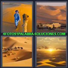 4 fotos 1 Palabra - 6 letras: desierto Camello Desierto árabe Dunas |
