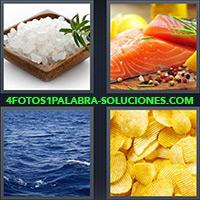 Sal de mar, Salmon crudo con especias, Agua del Mar, Chips, Papas fritas