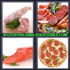 4 fotos 1 Palabra - 6 letras: pizza pepperoni Chorizo Companaje Salchichon |