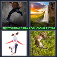 4 Fotos 1 Palabra - Catarata O Cascada De Agua Felino Saltando Hombre Corriendo Niñas Jugando |