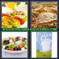 4 Fotos 1 Palabra - 4 Letras: Ensalada Leche, Verduras Asadas O A La Plancha, Cereales |
