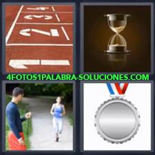 4 Fotos 1 Palabra - entrenador calculando el tiempo en el que corre la chica medalla de plata. Números escritos en el suelo reloj de arena |