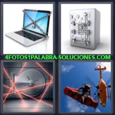 4 fotos 1 Palabra - 6 letras: laptop con cadenas Caja fuerte Computadora portatil Helicoptero |