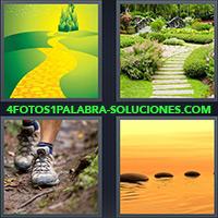 Sendero de ladrillos amarillos, Camino de piedras en jardín, Zapatillas sobre senda de tierra