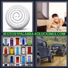 4 Fotos 1 Palabra - Pelota Chica Viendo La Televisión Coches Antiguos Puertas De Colores |
