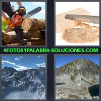 Hombre talando árbol, Serrucho, Cumbres, Picos, Montañas, Cordillera |