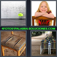 4 Fotos 1 Palabra - Sillón verde sobre fondo gris |