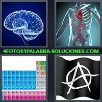 Cerebro, Sistema nervioso del cuerpo humano, Tabla periódica, Bandera negra con A y círculo