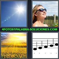 Mujer con anteojos de sol, Campo con girasoles y sol, Cielo con sol, Notas musicales |