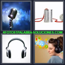 Microfonos, Latas con cuerda roja, Audífonos o Auriculares, Mujer escuchando música.