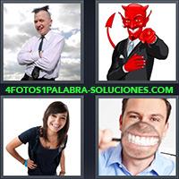 Hombre sonriendo, Diablo sonriendo, Chica sonriendo, Hombre con lupa mostrando sus dientes
