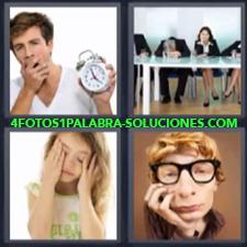 4 Fotos 1 Palabra - Hombre Despertando Joven Con Gafas O Lentes Niña Despertando Reunion |