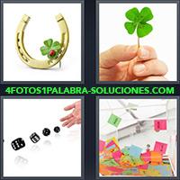Herradura, Casquillo, Herraje, Trébol de 4 hojas, Mano arrojando dados, Papeles de colores