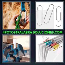 4 Fotos 1 Palabra - clips Cuerda de escalada Herramienta o caballete con trozo de madera pinzas sujetapapeles de colores |