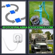 Flechas conectando, Bomba o pozo de agua, Enchufe, Camión o Jeep militar.