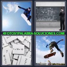 4 Fotos 1 Palabra - Patineta Chico Con Monopatin Haciendo Snow Surf Hombre Frente A La Pizarra Multiplicaciones |