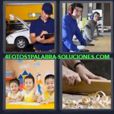 4 fotos 1 Palabra - 6 letras: mecanico niños Lijando madera Niños de amarillo |